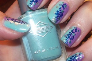 Nail , 6 Blue Prom Nail Designs : blue and purple floral nail for prom