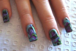 Nail , 6 Swirl Nail Designs : dark water marble nails