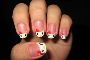 Nail , 6 Hello Kitty Nail Designs : easy hello kitty nail designs