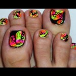 finger nails toe nails with absract rainbow , 7 Crackle Toe Nail Designs In Nail Category