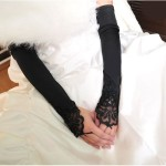 Black Silk Over the Elbow Long Wedding Evening Fingerless Dress Gloves , 6 Long Black Dress Glove In Fashion Category