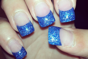 Nail , 6 Blue Prom Nail Designs : glossy blue metallic nail art
