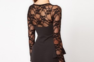 600x766px 9 Black Lace Dress With Long Sleeves Picture in Fashion