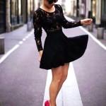 Lace Sleeve Dress Black , 7 Long Sleeve Black Skater Dress In Fashion Category