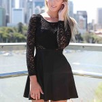 lace sleeve skater dress , 7 Long Sleeve Black Skater Dress In Fashion Category