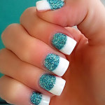 long nails turquoise glitter french , 6 Turquoise Nail Designs In Nail Category