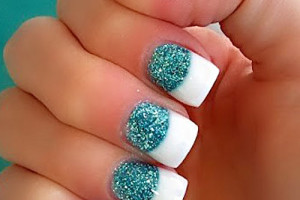 Nail , 6 Turquoise Nail Designs : long nails turquoise glitter french
