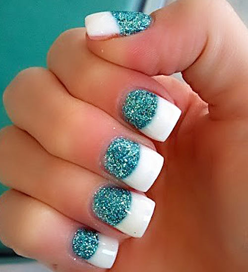 Large : 500 x 549 ... - Long Nails Turquoise Glitter French : 6 Turquoise Nail Designs