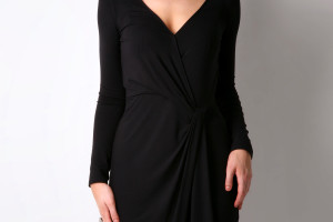 1350x2000px 8 Long Sleeve Black Wrap Dress Picture in Fashion