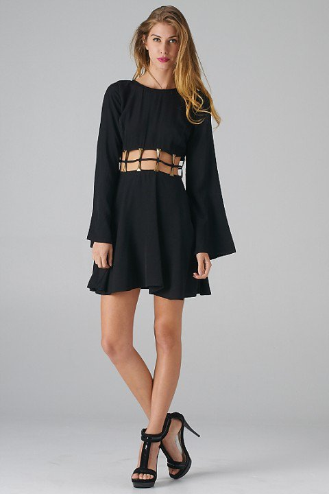 7 Long Sleeve Black Skater Dress in Fashion