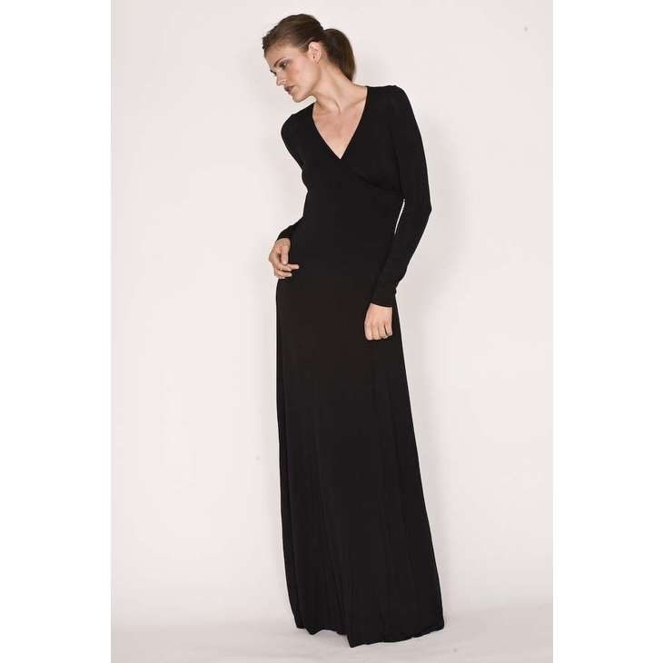 8 Long Sleeve Black Wrap Dress in Fashion