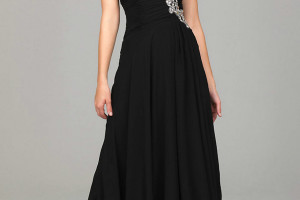 Fashion , 9 Pictures Of One Shoulder Long Black Dress : one shoulder prom dress