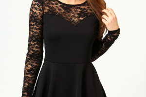 Fashion , 7 Long Sleeve Black Skater Dress : ong sleeve black skater dress