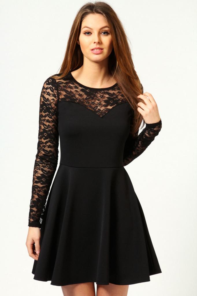 Fashion , 7 Long Sleeve Black Skater Dress : Ong Sleeve Black Skater Dress