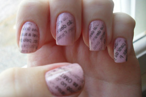 Nail , 7 Newspaper Nails Designs : pink newspaper nail art