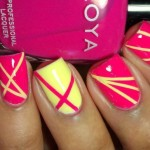 pink yello Nail art Using Scotch Tape , 6 Scotch Tape Nail Designs In Nail Category