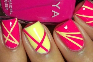 Nail , 6 Scotch Tape Nail Designs : pink yello Nail art Using Scotch Tape