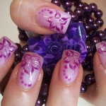 Purple Flower Nail Design For Prom , 6 Purple Prom Nail Designs In Nail Category