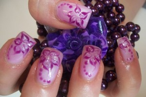 Nail , 6 Purple Prom Nail Designs : purple flower nail design for prom