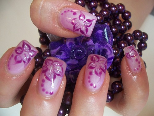 Purple Flower Nail Design For Prom 6 Purple Prom Nail Designs