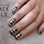 striped gold nails art , 6 Gold Nail Polish Ideas In Nail Category