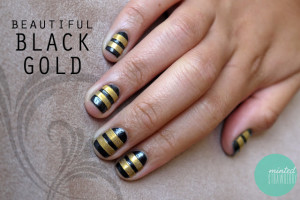 Nail , 6 Gold Nail Polish Ideas : striped gold nails art