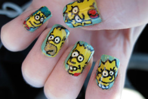Nail , 7 Cartoon Nail Designs : the simpsons nail art designs