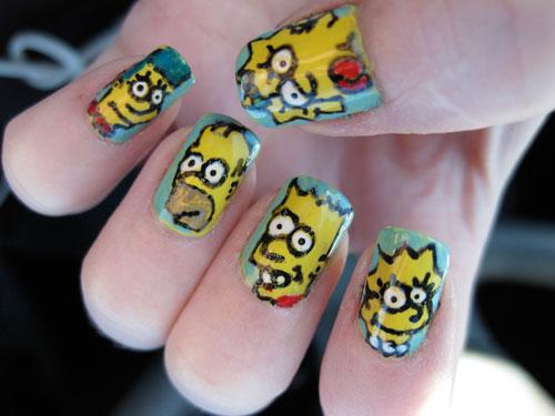 Nail , 7 Cartoon Nail Designs : The Simpsons Nail Art Designs