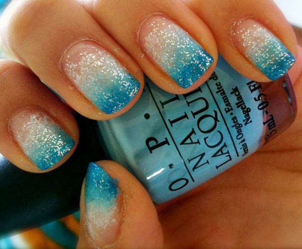 Turquoise Glitter Gradient Nails : 6 Turquoise Nail ...