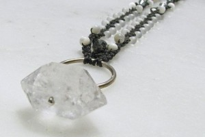 Jewelry , 6 Quartz Crystal Necklace Etsy : Quartz Crystal Micro Macrame Necklace by prox on Etsy, $55.00