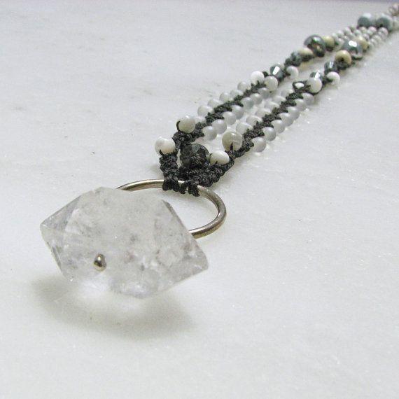 Jewelry , 6 Quartz Crystal Necklace Etsy : Quartz Crystal Micro Macrame Necklace By Prox On Etsy, $55.00