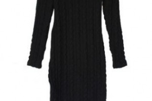 Fashion , 7  Long Sleeve Black Sweater Dress : Home » Dresses » Black Round Neck Long Sleeve Slim Sweater Dress