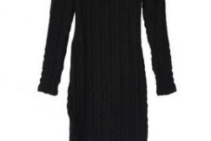 Fashion , 7  Long Sleeve Black Sweater Dress : Home » Dresses » Black Round Neck Long Sleeve Slim Sweater Dress