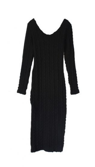 7  Long Sleeve Black Sweater Dress in Fashion
