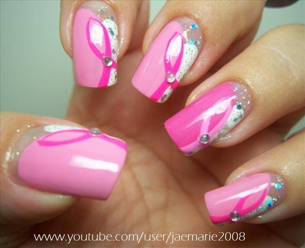 Nail , 5 Breast Cancer Nail Designs : Breast Cancer Awareness Nail Design | Nail Art Gallery