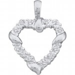 Women\'s White Diamond 0.06CTW 14K White Gold Heart Pendant GND23019 , 6 Gold Heart Necklaces For Women In Jewelry Category