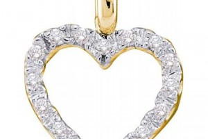 Jewelry , 7  Gold Heart Necklaces For Women : Women\'s White Diamond 0.08CTW 14K Yellow Gold Heart Pendant GND23193