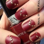 nailitorfailit: Red matte nail polish with gold... | Nail Designs , 6 Red Nail Polish Ideas In Nail Category