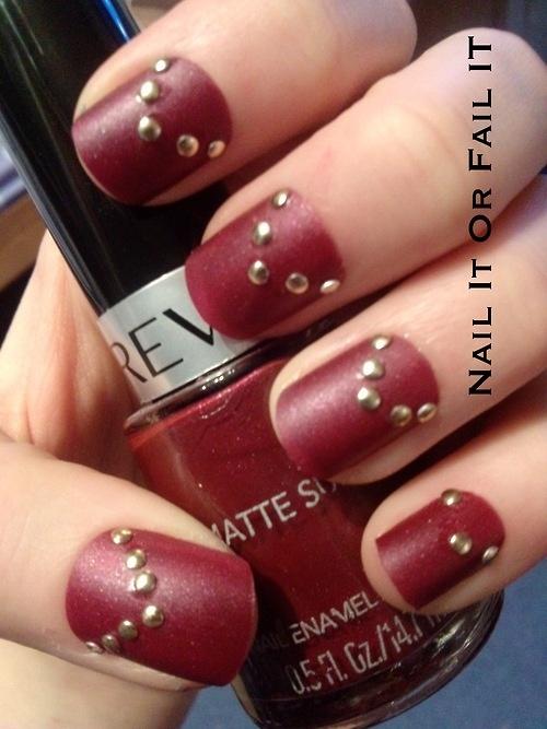 Nail , 6 Red Nail Polish Ideas : Nailitorfailit: Red Matte Nail Polish With Gold...   Nail Designs