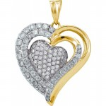 Women\'s White Diamond 1.00CT 14K Yellow Gold Heart Pendant GND47883 , 7  Gold Heart Necklaces For Women In Jewelry Category