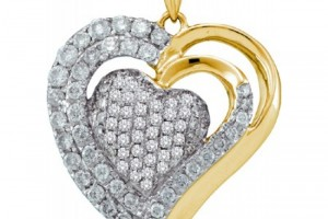 Jewelry , 7  Gold Heart Necklaces For Women : Women\'s White Diamond 1.00CT 14K Yellow Gold Heart Pendant GND47883