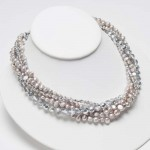 5 Strand Silver Pearl Silver Crystal Necklace , 7 Pearl And Crystal Necklace In Jewelry Category