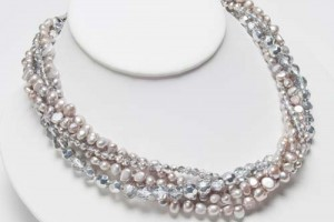 Jewelry , 7 Pearl And Crystal Necklace : 5 Strand Silver Pearl Silver Crystal Necklace