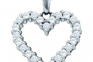Jewelry , 6 Gold Heart Necklaces For Women : Women\'s White Diamond 0.33CT 14K White Gold Heart Pendant GND57355