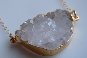 Jewelry , 6 Quartz Crystal Necklace Etsy : Quartz Crystal Druzy Necklace in Gold www.etsy.com/shop/443Jewelry