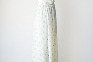 Fashion , 8 Vintage Maxi Dress : 70s white pastel floral maxi dress