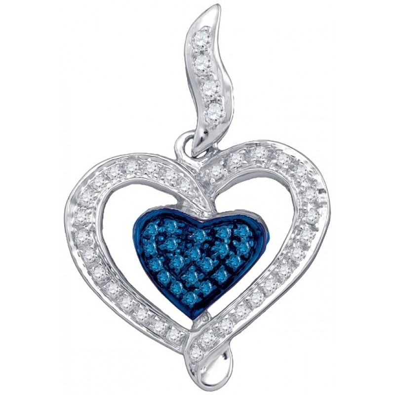 Jewelry , 6 Gold Heart Necklaces For Women : Women\'s White And Blue Diamond 0.27CTW 10K White Gold Heart Pendant ...