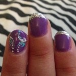 nails for prom -purple glitter tips and cute design with ... | Nails ... , 6 Purple Prom Nail Designs In Nail Category