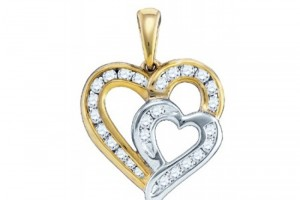 Jewelry , 7  Gold Heart Necklaces For Women : Women\'s White Diamond 0.36CT 10K Yellow Gold Heart Pendant GND76026