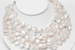 Jewelry , 7 Pearl And Crystal Necklace : 8 strand coin pearl crystal necklace